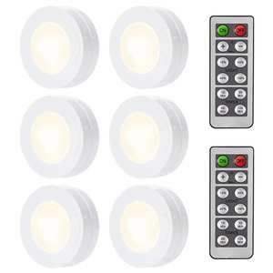 Wireless Under Cabinet Lights With Remote Control LED Puck Lights Dimmable Battery Powered Kitchen Closet Wardrobe Room Lighting