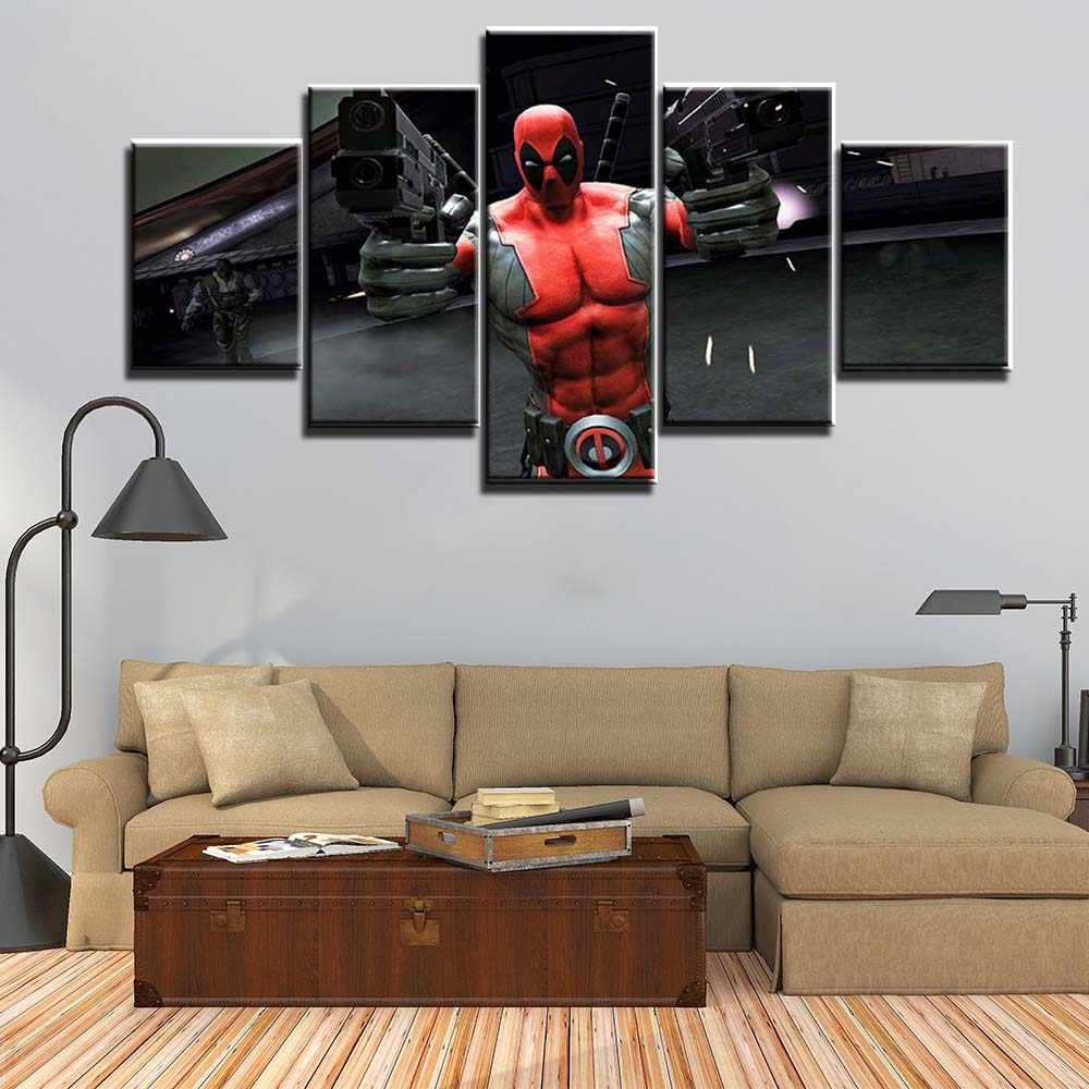 Dinding Modular Lukisan Pada Kanvas 5 Panel Deadpool Gambar untuk Kamar Tidur Dinding Seni Poster Kanvas Dinding Gambar Dekorasi Rumah