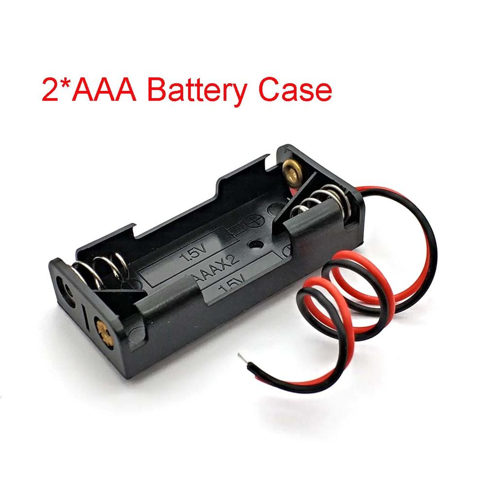 2x AAA Battery Box Case Holder With Wire Leads Side By Side Battery Box Connecting Solder For 2pcs AAA Batteries