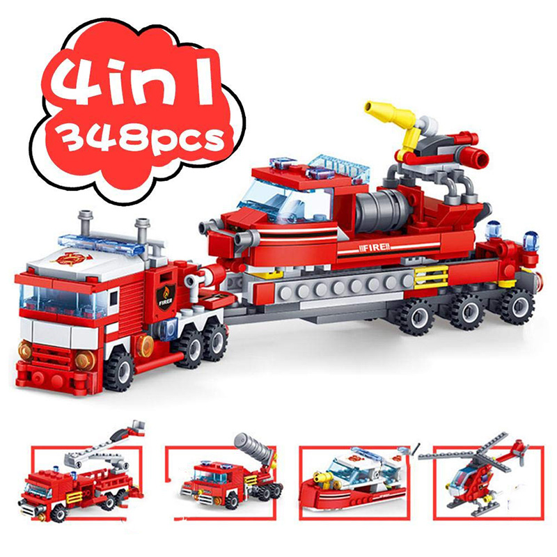 348PCS Building Blocks Fire Fighting 4 In 1 Trucks Car Helicopter Boat Compatible Legoing City Fire Fightng Bricks Children Toys