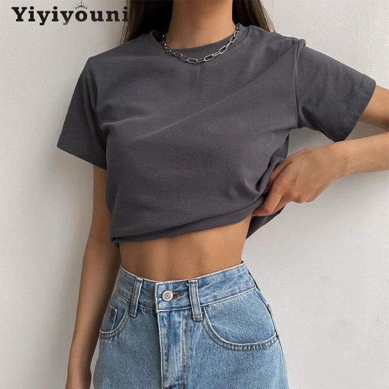Yiyiyouni Feste Beiläufige Grundlegende T-shirt Frauen Sommer Kurzarm Baumwolle T-Shirt Frauen O-ansatz Schwarz Weiß Koreanische Tops Weibliche 2021