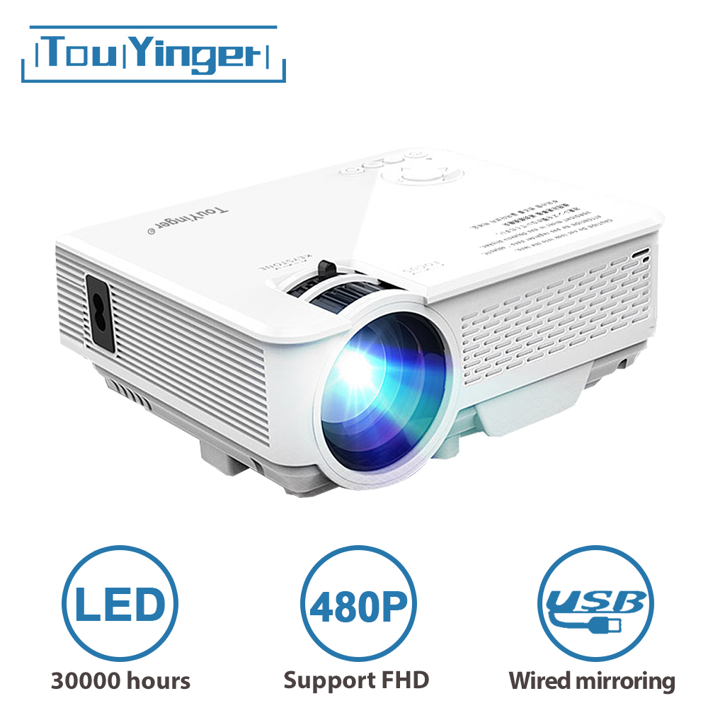 TouYinger LED Mini projector M4, 800x480 support Full HD video beamer for Home Cinema, 2200lumen movie projector Media Player(China)
