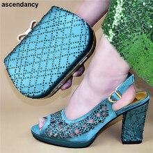 Dernières chaussures italiennes avec ensemble de sacs assortis décorées de strass correspondant chaussures italiennes et ensemble de sacs pompes femmes nigérianes
