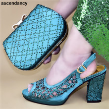 Latest Italian Shoes with Matching Bags Set Decorated with Rhinestone Matching Italian Shoe and Bag Set Nigerian Women Pumps