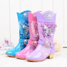 Kış kürk kızlar yüksek topuklu kar botları Glitter çocuklar prenses elbise çizme deri orta buzağı peluş sıcak moda kelebek parti Boot