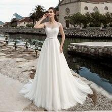 Женское кружевное свадебное платье белое принцессы с круглым
