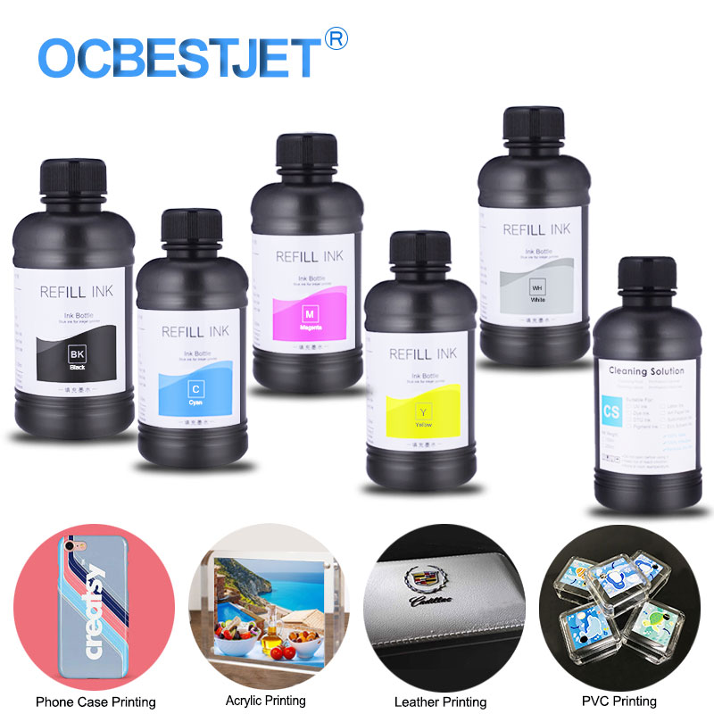 6 бутылок светодиодные УФ чернила + УФ Очистка для Epson L800 L805 R290 L1800 1390 1400 1500 Вт DX5 DX7 для всех УФ принтеров УФ чернила для Epson|Наборы для заправки чернилами|   | АлиЭкспресс
