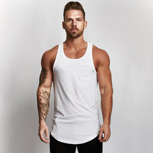 Men T-shirt summer Solid Color Curved Hem Long Line bodybuilding Tee Shirts Men Top Hip Hop Summer Cotton Men gyms T shirt