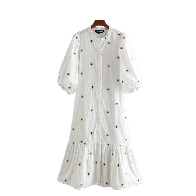 Tangada Fashion Women Embroidery Cotton Dress 2020 New Arrival Long Sleeve Ladies White Midi Dress Vestidos CE205