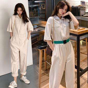 Womens one piece work clothes new 2020 loose Korean high waist fashion suit pants