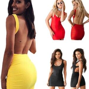 Sexy Backless Summer Dress Sleeveless Tanks Dress Short Pencil Bandage Club Party Dresses Beach Mini Bodycon Vestidos