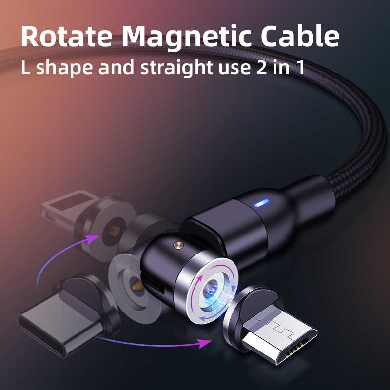 360º+180º Rotate Magnetic USB Cable Micro Usb Type C Charger Mobile Phone Cable Cord Fast Charging For IPhone 11 Samsung Phones