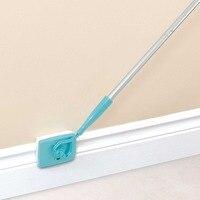 Casa piso mop rodapé ferramenta de limpeza alça longa ajustável rodapé microfibra e moldagem ferramenta limpeza tolet banheiro|Esfregão| |  -
