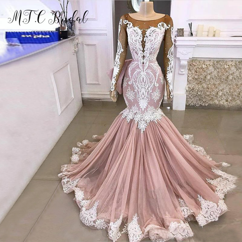 Dusty Rose Long Sleeves Mermaid   Prom     Dresses   White Lace Appliques Sheer Pearls See Through Sexy Evening Party Gowns 2019 New