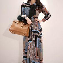 Женское винтажное Элегантное Длинное Платье с принтом женские весенние однобортные Бохо платья Талия качели длиной до щиколотки Vestidos