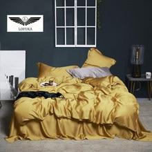 Lofuka Luxury 100% Silk Yellow Bedding Set Beauty Duvet Cover Set Queen King Flat Sheet Bed Linen Pillowcase For Sleep Bed Set