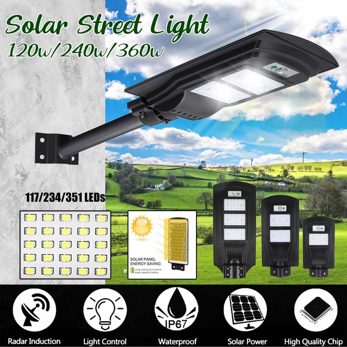 Contrebande xi 21000LM 120 W/240 W/360 W réverbère solaire 117/234/351 LED éclairage extérieur lampe de sécurité capteur de mouvement télécommande IP65