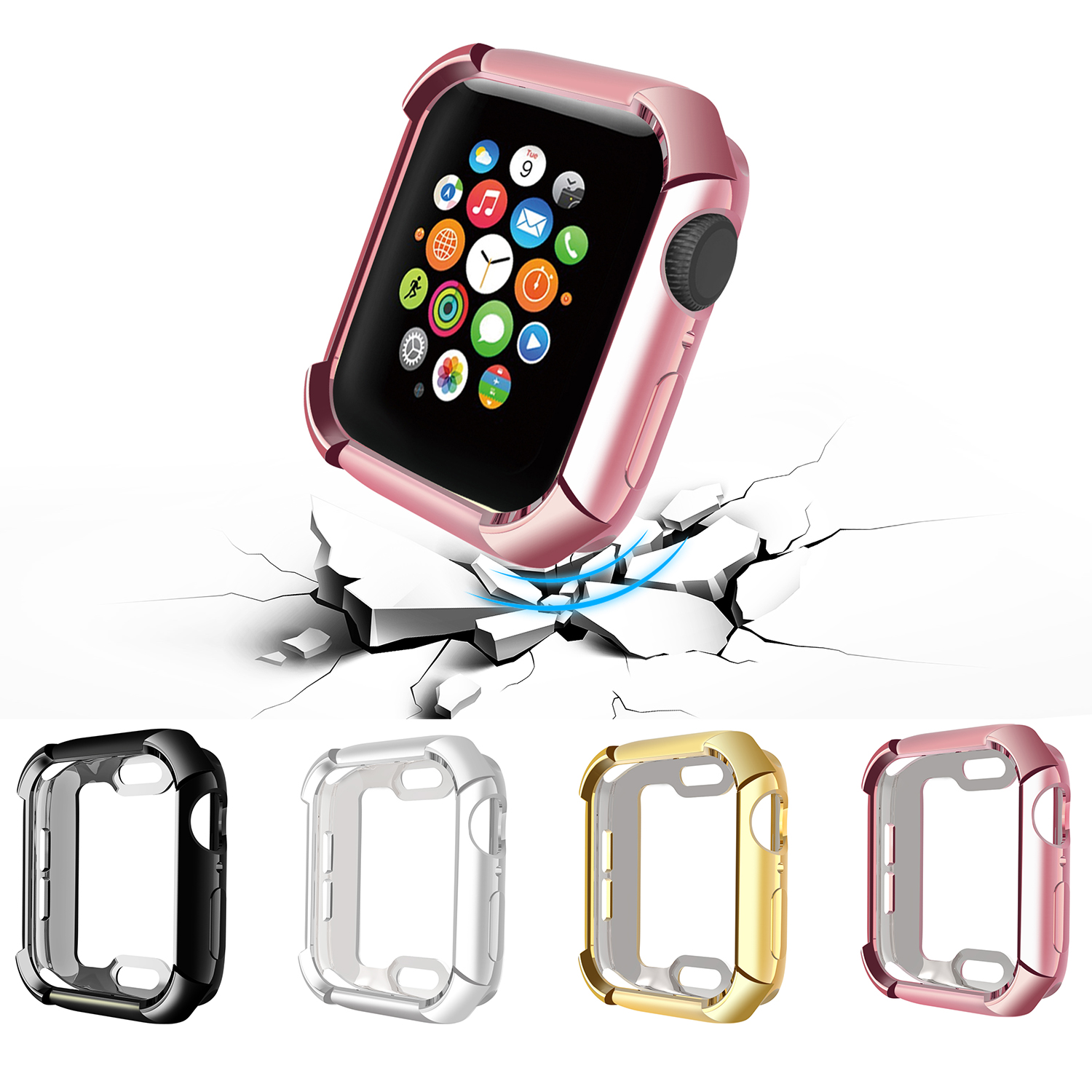 Watch Cover Case For Apple Watch 5/4 40mm 44mm  Full Protect Fall-proof Plating TPU Cases For IWatch Series 5 4 42mm 38mm