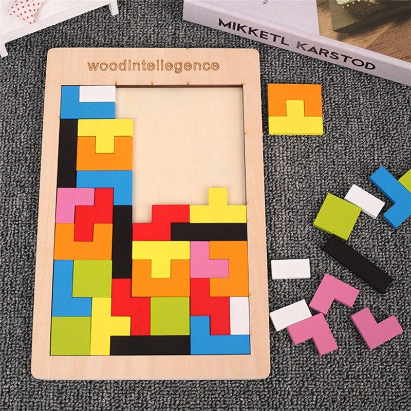 Puzzle 3D coloré en bois Tangram, jouets mathématiques, jeu Tetris, jeu éducatif intellectuel de grossissement en pré-école pour enfants