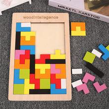 Kleurrijke 3D Puzzel Houten Tangram Math Speelgoed Tetris Game Kinderen Pre-School Magination Intellectuele Educatief Speelgoed Voor Kinderen