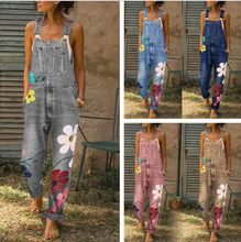 Plus Size Denim Bib Overalls Women Printed Suspenders Jeans wide Leg Drop Crotch Trousers Baggy Jumsuits Hole cowboy pants(China)