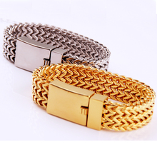 22 mm Punk Jewelry 316L Stainless Steel Gold Color Figaro Flat Chain Mens Bracelet Wristband 8.66 Square Buckle High Quality