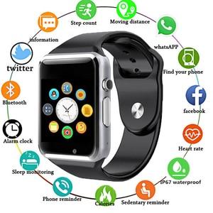 Image 2 - Montre Bracelet Bluetooth montre intelligente Sport podomètre Bracelet avec caméra SIM montre intelligente hommes femme pour Smartphone Android A1 1eh