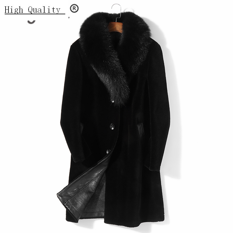 Natural Real Fur Coat Men Clothes 2020 Winter Sheep Shearling Coat Large Fox Fur Collar Thick Warm Overcoat Hiver PM8516Z