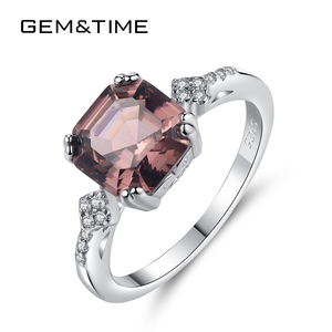 Image 1 - خاتم أنيق مرغنيت بحجر مربع من Gem & Time خاتم فضة استرليني 925 للنساء خاتم عروس ومجوهرات زفاف SR0075