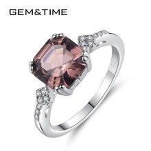 Gem & Time Anillo de plata de primera ley con piedra morganita para mujer, sortija, plata esterlina 925, estilo elegante, boda, boda, SR0075