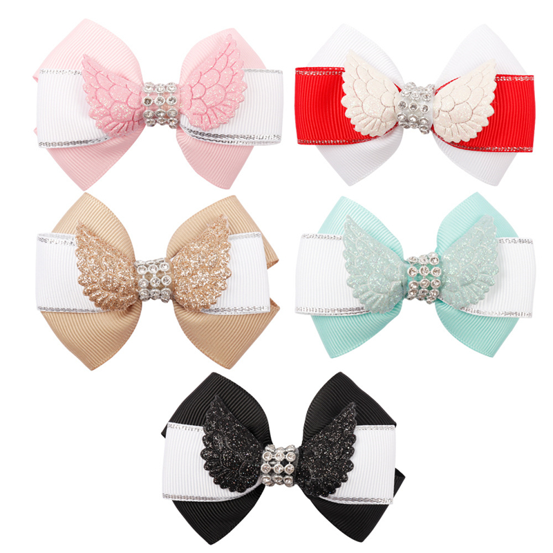 Handmade Girl Children Baby Minnie Mouse 4 wing ribbon Hair Bow Clips Bobbles