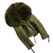 Abrigo de piel auténtica de oveja para mujer, chaqueta de piel de oveja auténtica de Merino a la moda, abrigo de piel de mapache Natural y grande con cuello de piel de oveja para invierno