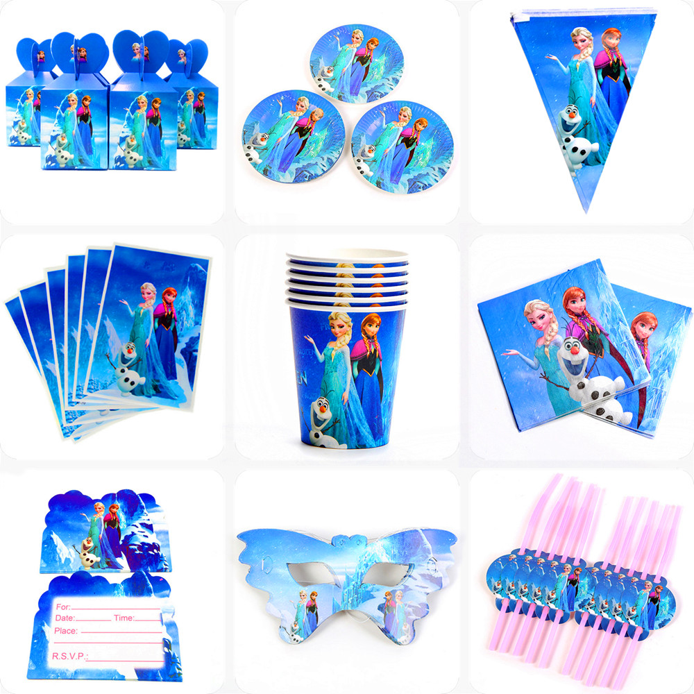 Disney Frozen Anna and Elsa Princess Design Disposable Tableware Paper Cup Plate Baby Shower Birthday Party Decorations Supplies-0