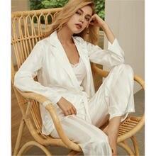 Daeyard роскошный Шелковый пижамный комплект женские платья