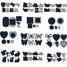Letters Butterfly Weasel Rectangle Round Heart Shaped Background FrameMetalCutting Dies For Scrapbooking Craft Embossing 2019Die
