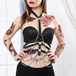 Image 1 - Arnés con correa de cuero para mujer, lencería para Bondage corporal, liguero, arnés corporal, cinturón de cadena, sujetador, jaula, Punk, gótico