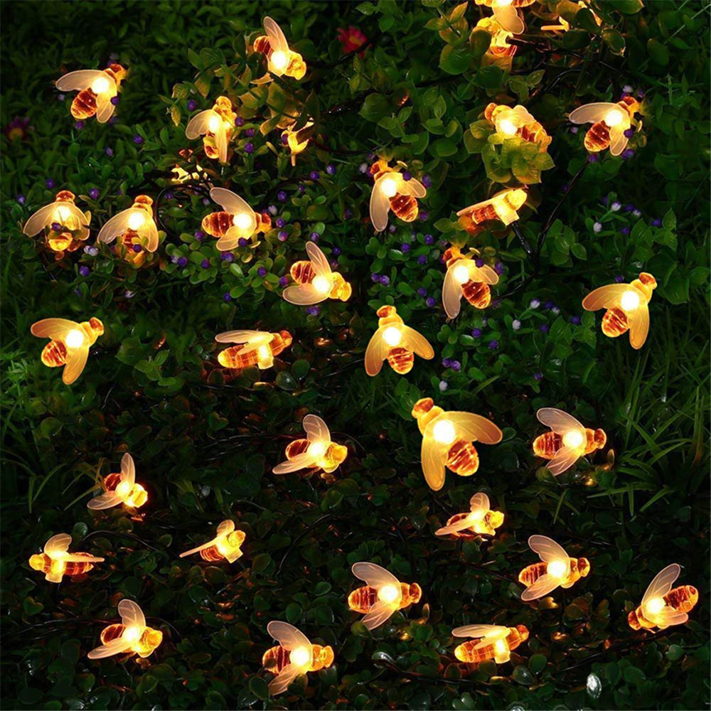 20LED/30LED/40LED Bee Shaped LED String Lights Battery Operated Christmas Garlands Fairy Lights For Holiday Party Garden Decor