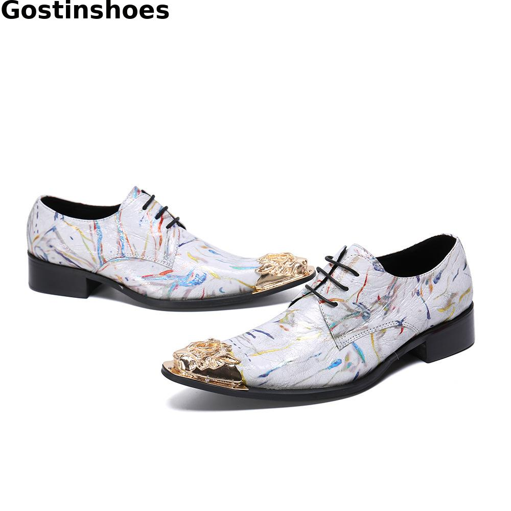 Elegant Men Shoes Genuine Leather White Printed Men Causal Leather Shoes Pointed Metal Cap Toe Men Derby Shoes Lace up Shoes Men in Men 39 s Casual Shoes from Shoes
