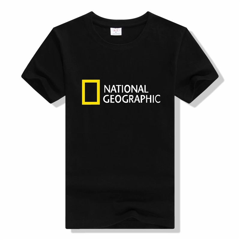 National Geographic Channel Letter Printed T-shirt 100% Cotton High Quality National Geographic Outdoor Sports Mens Tee Shirt