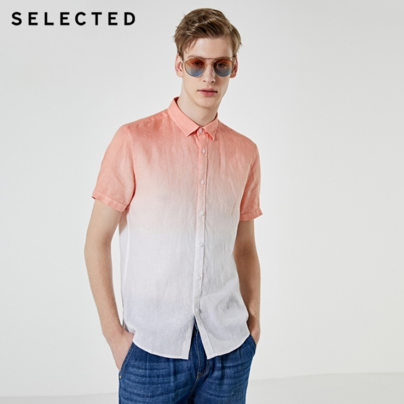 SELECTED Men's Linen Gradient Business Casual Handsome Short-sleeved Shirts S|419204544