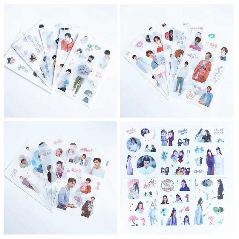 6 Lenzuola/Set Chen Qing Ling Adesivo Decorativo Xiao Zhan Wang Yibo Scrapbooking FAI DA TE Diario Album di Etichetta Adesivi