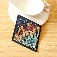 Wilderness Camping Patch Mountain Embroidered Patches For Clothing Sew/Iron On Clothes Van Gogh Earth Parches