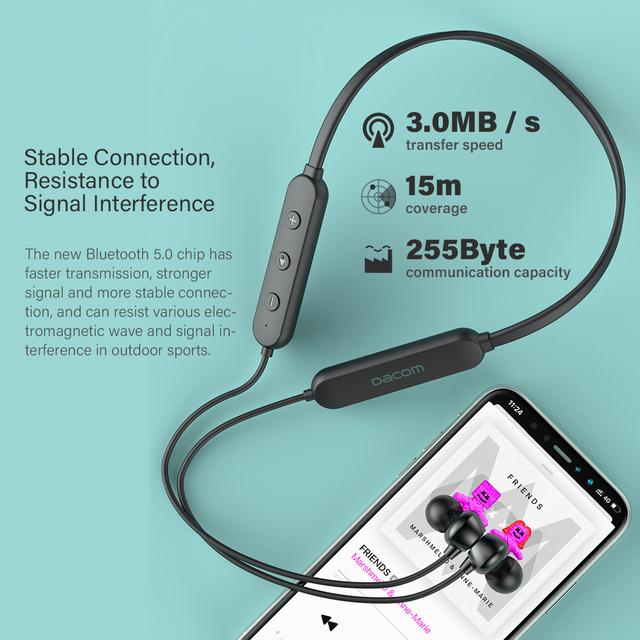 DACOM L03X Bluetooth Earphone Neckband Sports Wireless Headphone Mini Headset, Lightweight, 6 Hours Playback, for iPhone Samsung