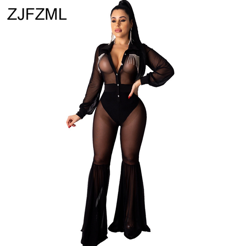 Sheer Mesh Transparent Sexy Club Romper Women Long Sleeve Single Button Flare Jumpsuit Clubwear Turn Down Collar Black Overalls