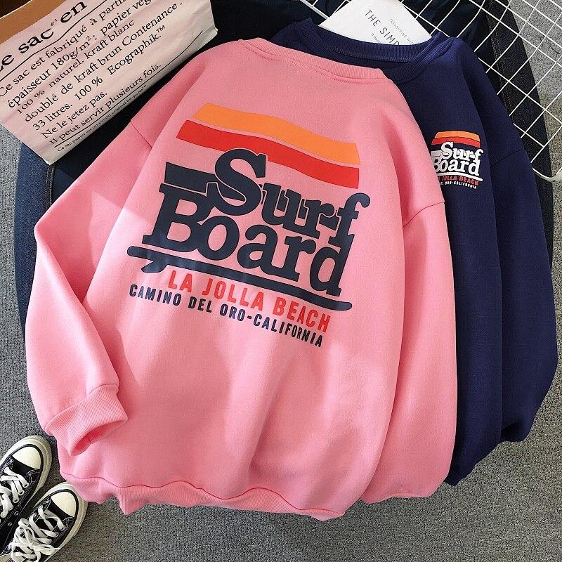 Winter Warm Hoodie Women Oversize Sweatshirt Korean Kawaii Harajuku Letter Print Hoodies Streetwear Casual Plus Velvet Pink Coat