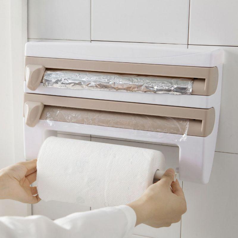 Ev ve Bahçe'ten Plastik Sargı Dağıtma Makineleri'de Duvara monte mutfak kağıdı rulo dağıtıcı sarılmak Film ve mutfak alüminyum folyo dağıtıcı kağıt havlu askısı title=