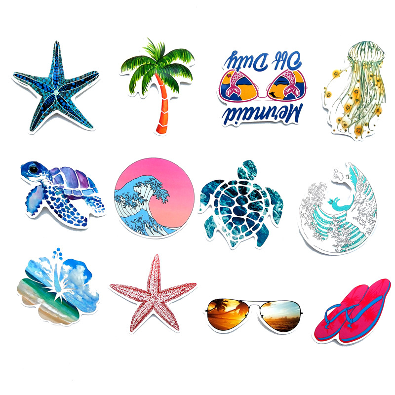 TD ZW 50Pcs Summer Beach Sticker Kids DIY Stickers Waterproof Sticker For Surfboard Luggage Bottle Book Decoration Decal Sticker