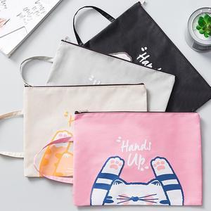 Portable Cartoom Oxford tissu Zipper papeterie sac de rangement dossier cosmétiques poche école bureau Document fournitures