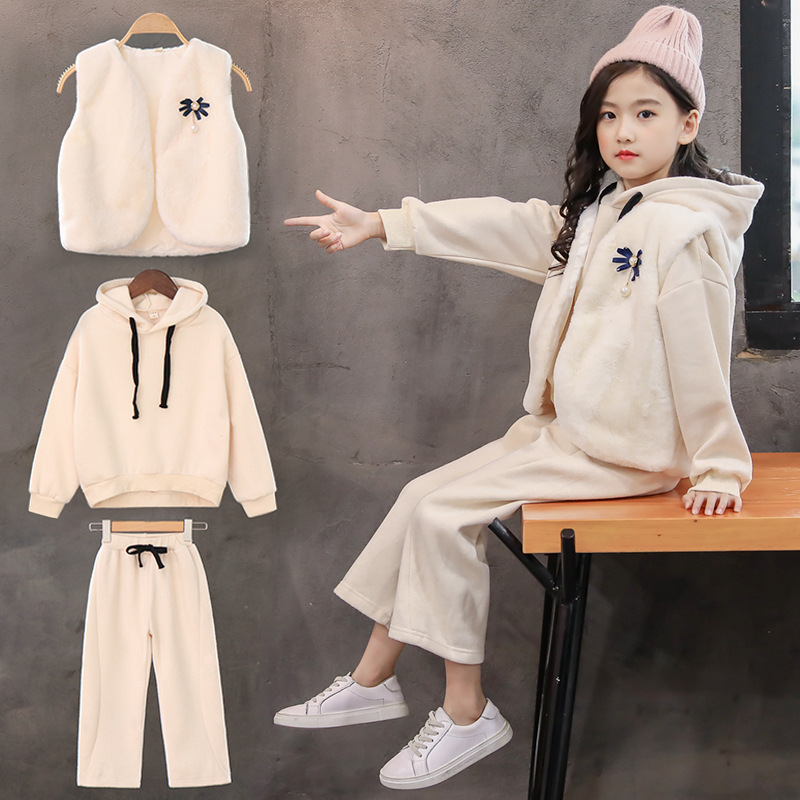 3pcs Toddler Girl Clothes Teenagers Boutique Outfits Fall Kids Tracksuit Teen Girls Clothing Suit Sets Vest + Sweatshirts + Pant
