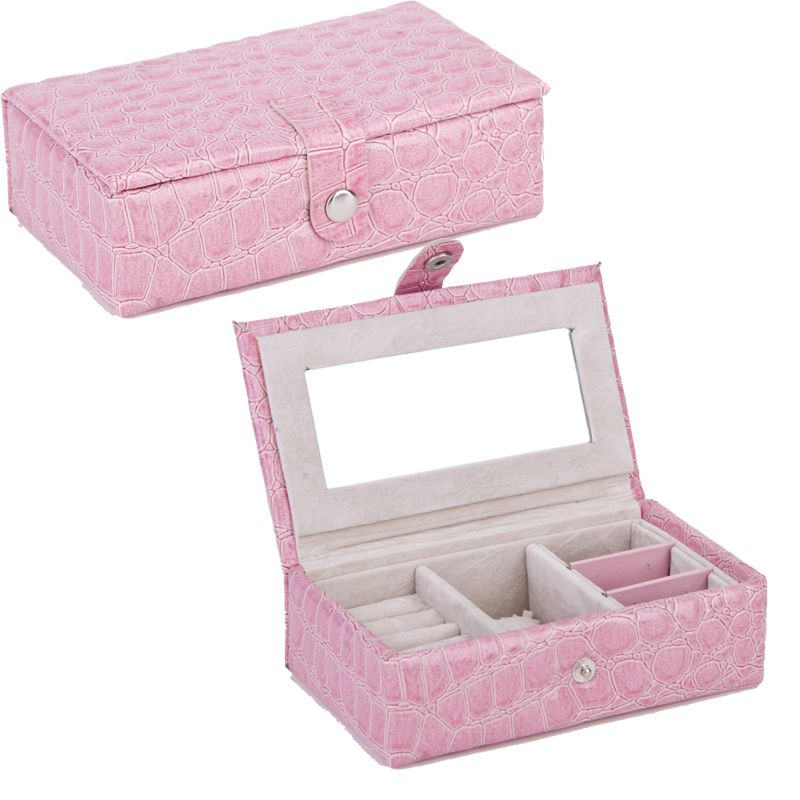 B Case Jewelry Box Portable Storage Organizer Earring Holder Mirror Women Jewelry Display Travel Case Rings Case